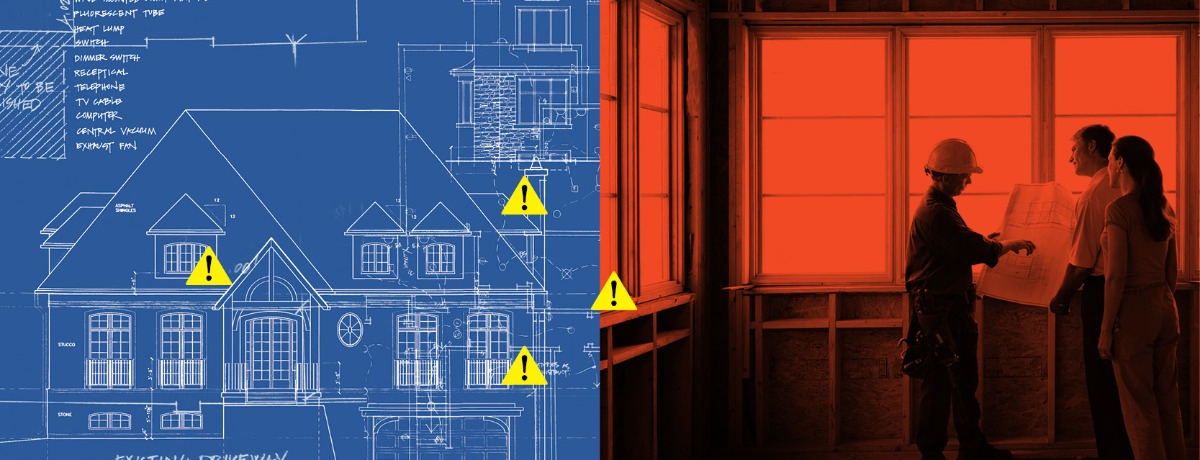 Blueprint of a house with yellow caution signs and red image of a construction worker talking to two