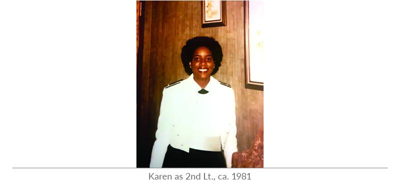 Karen Evans as 2nd Lt., ca. 1981