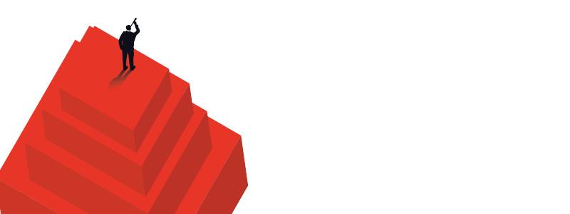man standing on red blocks